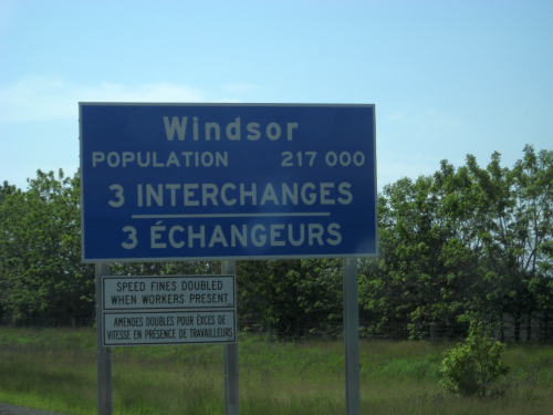 ontario winsor population sign