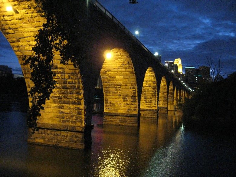 stone bridge after dark