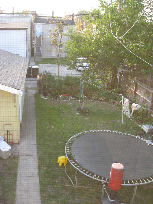 yard from upstairs window